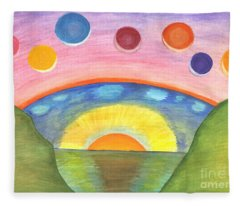 Abstract Painting. Two Worlds - Earth And Space. Fleece Blanket