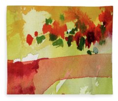 Abstract Red Poppies Panorama Fleece Blanket