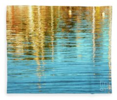 Abstract Reflections In Camden Harbor Maine Fleece Blanket
