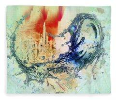 Abstract Water Splash Fleece Blanket