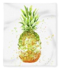 Abstract Watercolor Pineapple Fleece Blanket