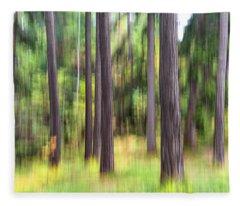 Abstract Wood Fleece Blanket