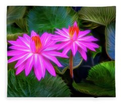 Abstracted Water Lilies Fleece Blanket