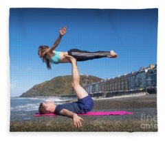 Acroyoga On Aberystwyth Beach Fleece Blanket