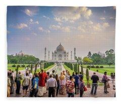 Admiring The Taj Mahal Fleece Blanket