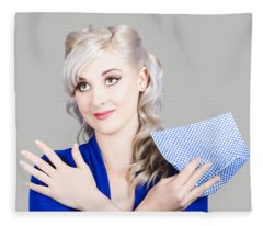 Adorable Female Pinup Cleaner Holding Dish Cloth Fleece Blanket