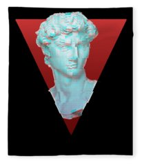 Aesthetic Greek Bust Gift Vaporwave Glitch Effect Statue Fleece Blanket