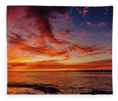 After Sunset Colors At Kailua Bay Fleece Blanket