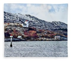 Agdenes Lighthouse And Ringflua Light Norway Fleece Blanket