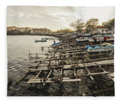 Ahtopol Fishing Town Fleece Blanket