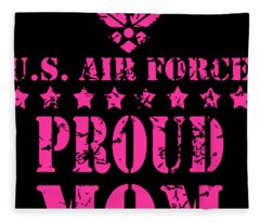 Air Force Family Proud Mom U.s. Air Force Stars Veteran Fleece Blanket