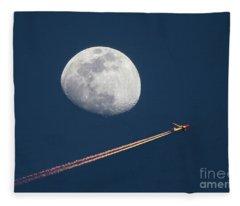 Airliner And Waxing Gibbous Moon Fleece Blanket
