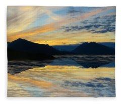 Alaska Reflective Sunset Fleece Blanket