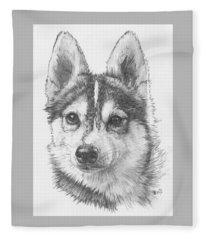 Fleece Blanket featuring the drawing Alaskan Klee Kai by Barbara Keith