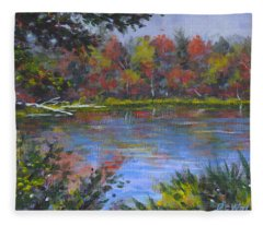 Algonquin Lake Sketch Fleece Blanket
