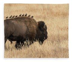 All Aboard The Bison Express Fleece Blanket
