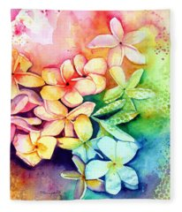 Aloha Plumeria Blossoms Fleece Blanket