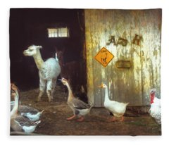 Alpaca On The Farm Fleece Blanket