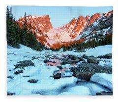 Alpenglow At Dream Lake Rocky Mountain National Park Fleece Blanket