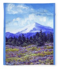 Alpine Meadow Sketch Fleece Blanket