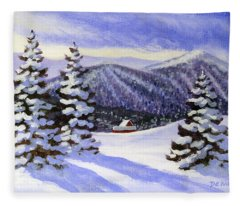 Alpine Winter Sketch Fleece Blanket