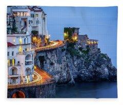 Amalfi Coast Italy Nightlife Fleece Blanket