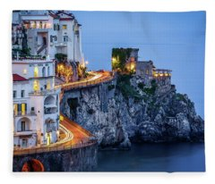 Amalfi Coast Italy Nightlife Fleece Blanket