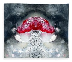 Fleece Blanket featuring the painting Amanita  by 'REA' Gallery
