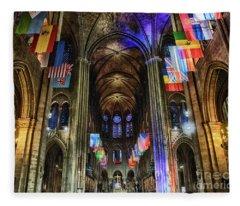 Amazing Interior Cathedrale Notre Dame De Paris France Before Fire Fleece Blanket