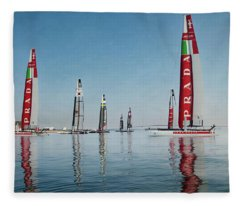 America Cup Boat Reflections Fleece Blanket