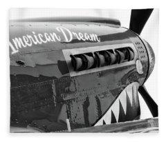 American Dream In Black And White Fleece Blanket