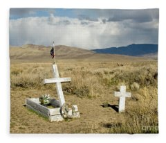 American Flag Grave Fleece Blanket