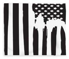 American Flag Patriotic Usa Flag Vintage Men's Veteran Fleece Blanket