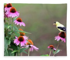 American Goldfinch On The Coneflowers Fleece Blanket