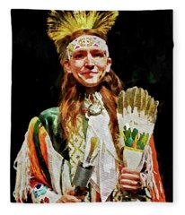 American Indian Dancer Fleece Blanket