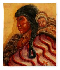 American Indian Mother And Child Fleece Blanket