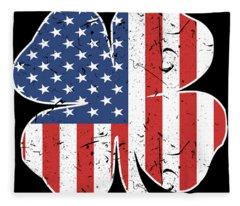 American Irish Grunt Style Usa Men_s Patriotic St Patrick_s Day Clover Patriotic Fleece Blanket