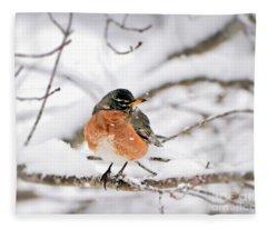 American Robin In The Snow Fleece Blanket