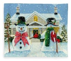 American Snowman Gothic Fleece Blanket