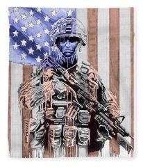 American Soldier Fleece Blanket