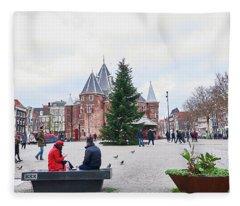 Amsterdam Christmas Fleece Blanket