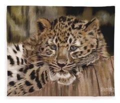 Amur Leopard Cub Fleece Blanket