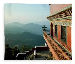 Fleece Blanket featuring the photograph Ancient Buddhist Monastery In Nepal by Raimond Klavins