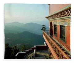 Ancient Buddhist Monastery In Nepal Fleece Blanket
