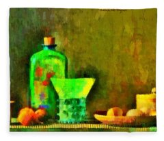 Ancient Objects And Oil Bottle - Da Fleece Blanket