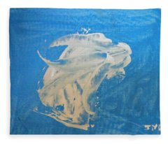 Angel And Dolphin Riding The Waves Fleece Blanket