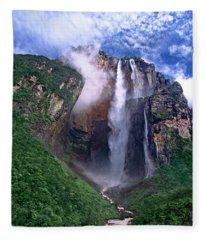 Angel Falls And Ayuan Tepui Canaima National Park Venezuela Fleece Blanket