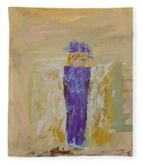 Angel Girl With A Unicorn Fleece Blanket