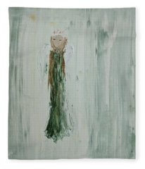 Angel In Green Fleece Blanket