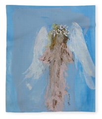Angel With A Crown Of Daisies Fleece Blanket